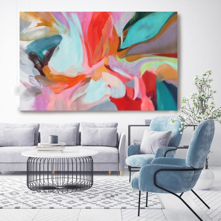 """Irena Orlov Interior Painting - Red Blue Teal Abstract  Acrylic Painting 42H X 68""""W, Integrity of Chaos"""