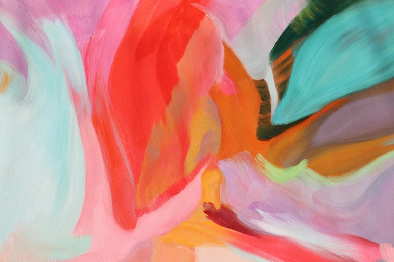 Red Blue Teal Abstract  Acrylic Painting 42H X 68