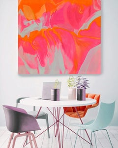 """Red Orange Abstract Oil Painting on Canvas 36x36"""", Volcano Spectacular"""