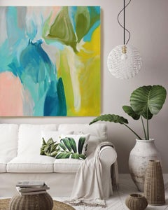 """Green Blue Abstract Oil Painting 38 x 38"""", Calm Spring Color Irena Orlov"""