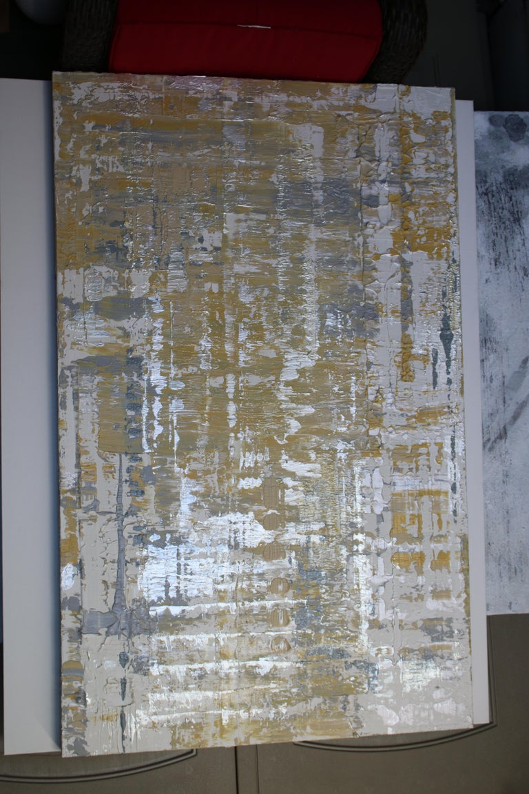 Abstract Silver Yellow Heavy Textured Mixed Medium on Canvas, Silver Wave 30x48