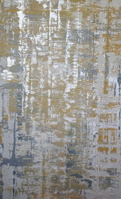 Abstract Silver Yellow Heavy Textured Mixed Medium on Canvas, Silver Wave 30x48""
