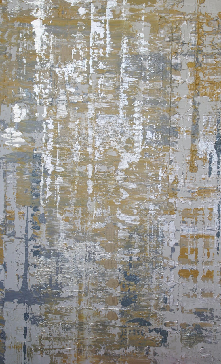 Irena Orlov Abstract Painting - Abstract Silver Yellow Heavy Textured Mixed Medium on Canvas, Silver Wave 30x48""