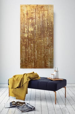 Mixed Media on Canvas: Acrylic, Stucco, Modeling Paste Heavy Texture Gold Water