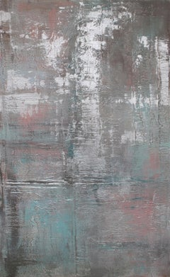 Silver Pink Abstract Heavy Textured Mixed Medium on Canvas, Calm Water 30 x 48""