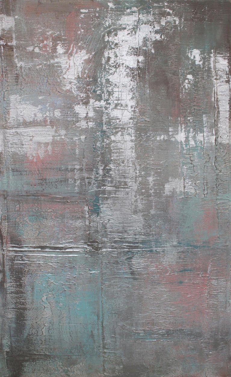 """Irena Orlov Abstract Painting - Silver Pink Abstract Heavy Textured Mixed Medium on Canvas, Calm Water 30 x 48"""""""