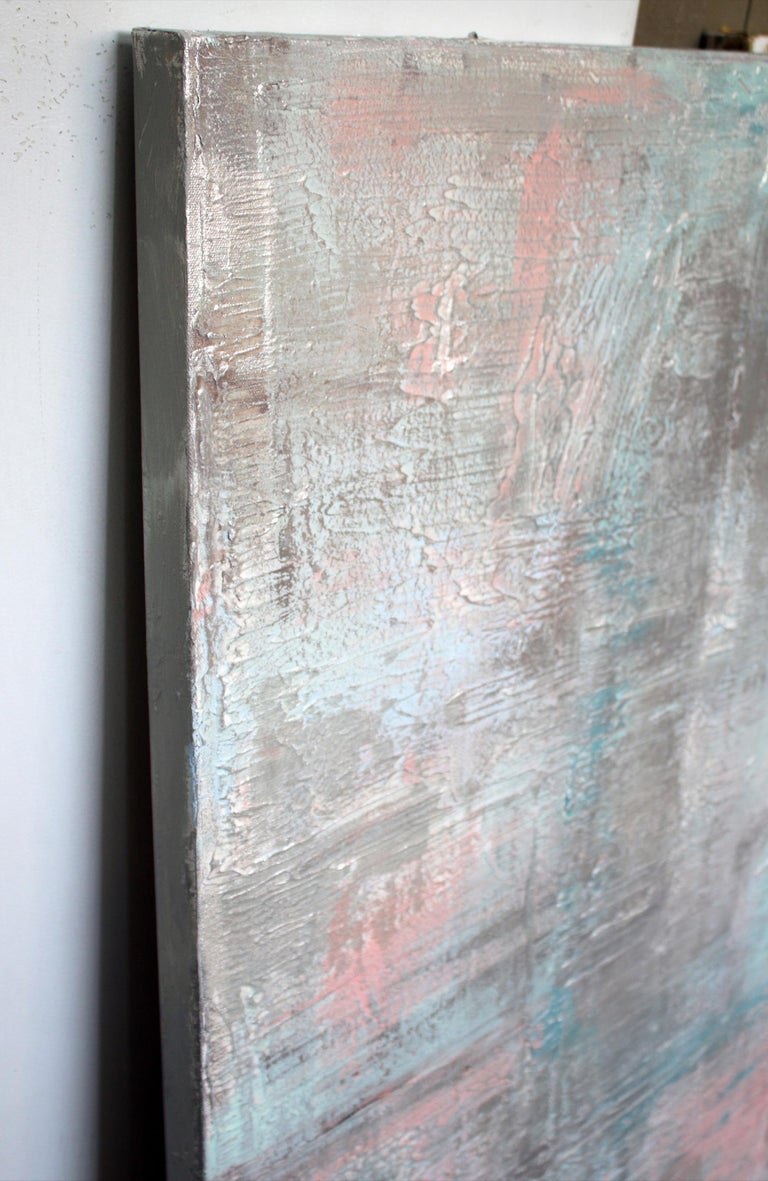Silver Pink Abstract Heavy Textured Mixed Medium on Canvas, Calm Water 30 x 48