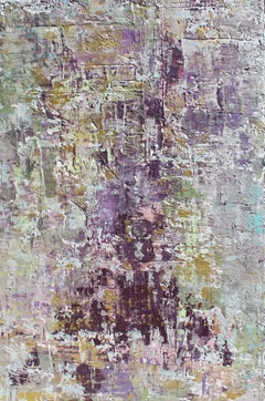 Purple Abstract Mixed Medium on Canvas Heavy Textured, Calm Emotions 24x48""