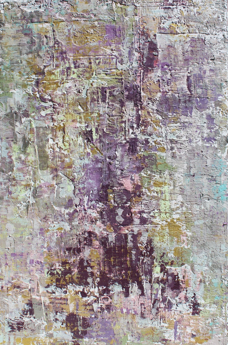 """Irena Orlov Abstract Painting - Purple Abstract Mixed Medium on Canvas Heavy Textured, Calm Emotions 24x48"""""""
