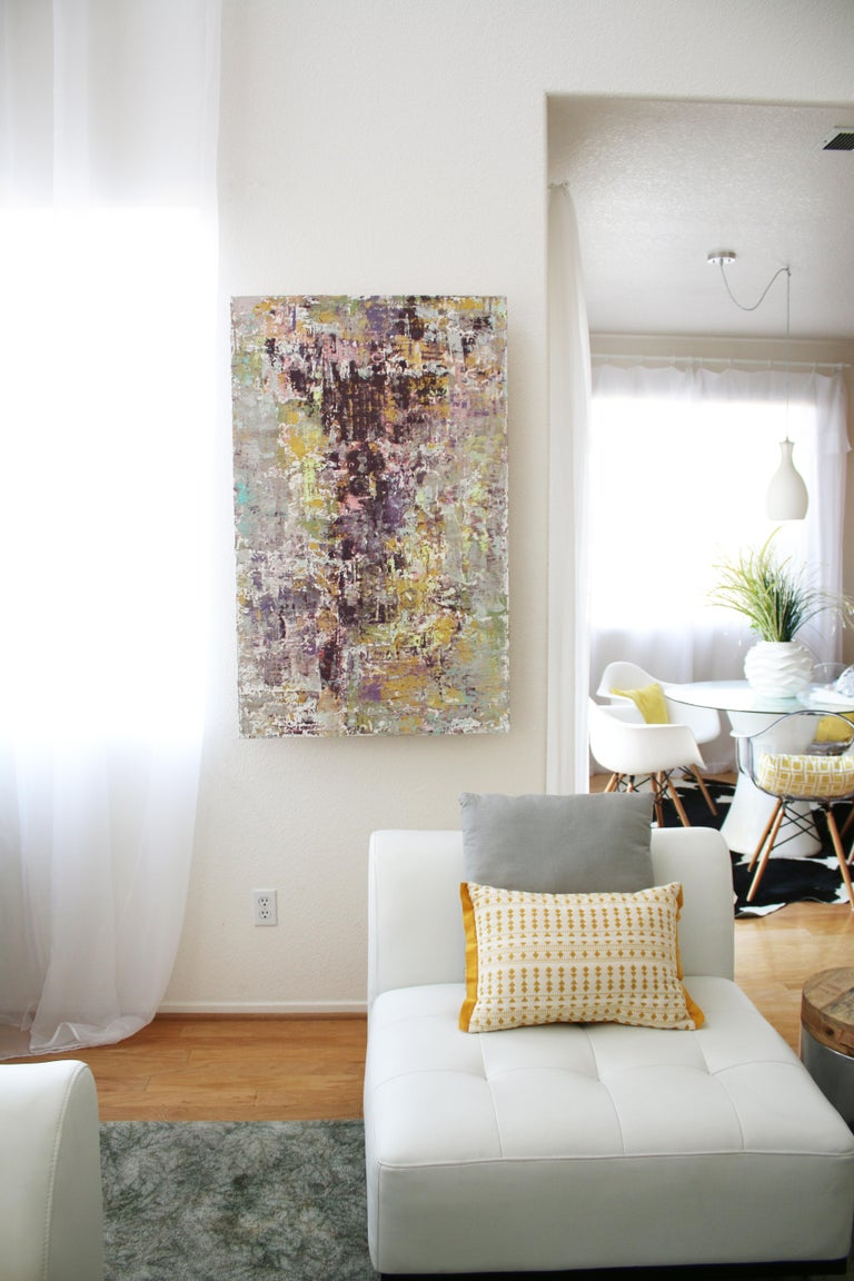 Purple Abstract Mixed Medium on Canvas Heavy Textured, Calm Emotions 24x48