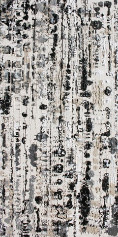 Abstract Black and White Mixed Medium on Canvas Heavy Textured, Winter 24W X 48H