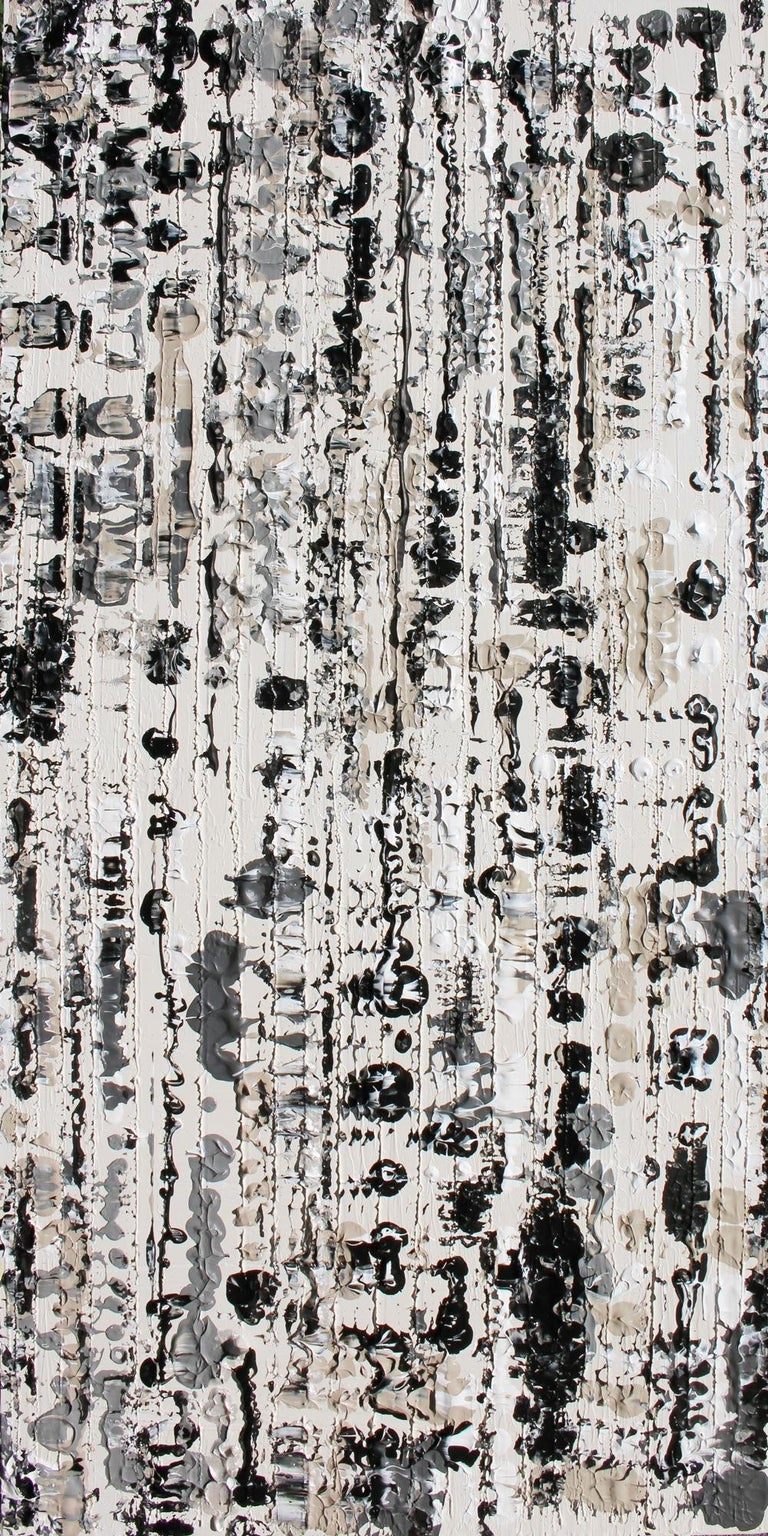 Irena Orlov Abstract Painting - Abstract Black and White Mixed Medium on Canvas Heavy Textured, Winter 24W X 48H