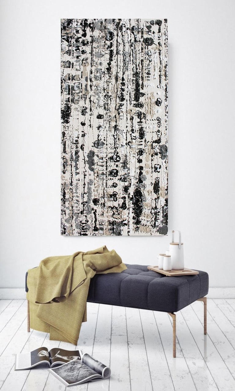 Abstract Black and White Mixed Medium on Canvas Heavy Textured, Winter 24W X 48H - Painting by Irena Orlov