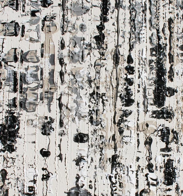 Abstract Black and White Mixed Medium on Canvas Heavy Textured, Winter 24W X 48H - Gray Abstract Painting by Irena Orlov