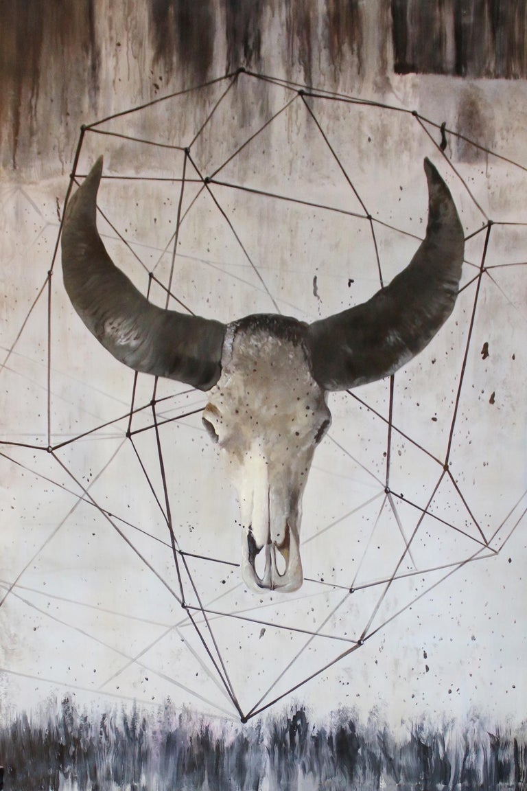 """Buffalo Skull, Contemporary, Rustic Animal Painting on Canvas 72 H X 48"""" W   Acrylic on Stretched Canvas SPECIFICATIONS: - Artist-grade canvas. - 1.5"""" deep wooden support bars - Gallery Stretching & Wrap  ANIMAL WALL ART Irena Orlov love to take"""