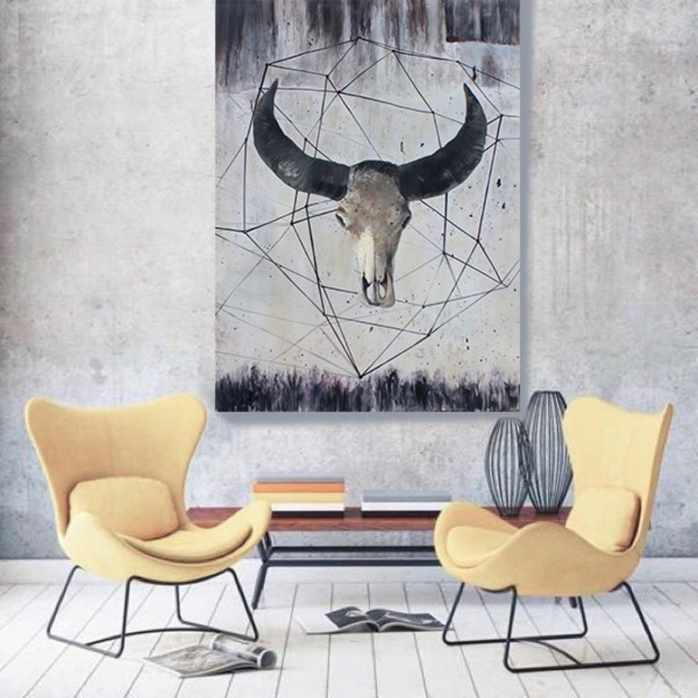Buffalo Skull, Contemporary, Rustic Animal Painting on Canvas 72 H X 48