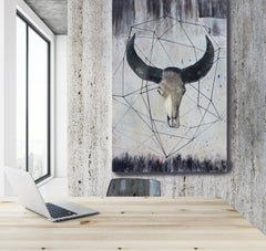 "Sacred Buffalo - A New Beginning Painting on Canvas 72 H X 48"" W Collectible"
