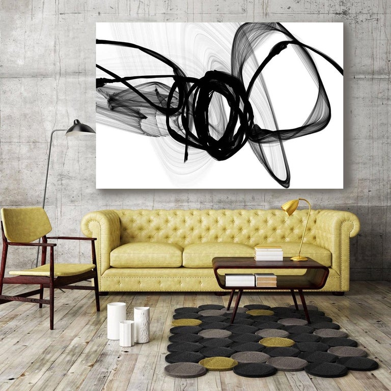 Abstract Art Minimalist Painting on Canvas Black White , The Energy 60 x 40