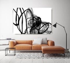 Minimalist Abstract in Black and White, Inside Out 60 x 40""