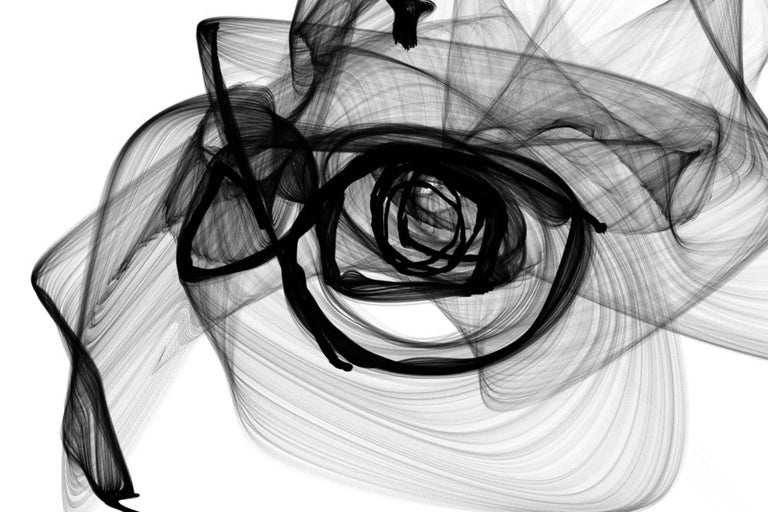 """60 x 40"""" Original New Media Minimalist Abstract in Black and White, Insomnia 1"""