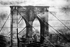 "Brooklyn Bridge. Urban Original Art on Canvas. Cityscape 69 x 46"" New York"