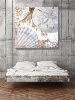 White Shells, Original Rustic Coastal Painting with Acrylic on Canvas 54 x 54""