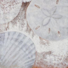 """White Shells, Original Rustic Coastal Painting with Acrylic on Canvas 50 x 50"""""""