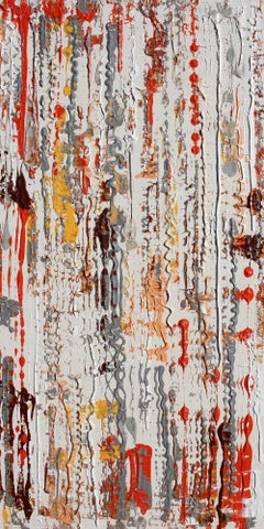 """Abstract Red White Mixed Media on Canvas Heavy Texture Autumn To Winter 24 x 48"""""""
