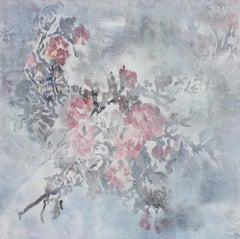 "Shabby Chic Floral Textured Painting on Canvas 24 X 24"" Roses, Softly"