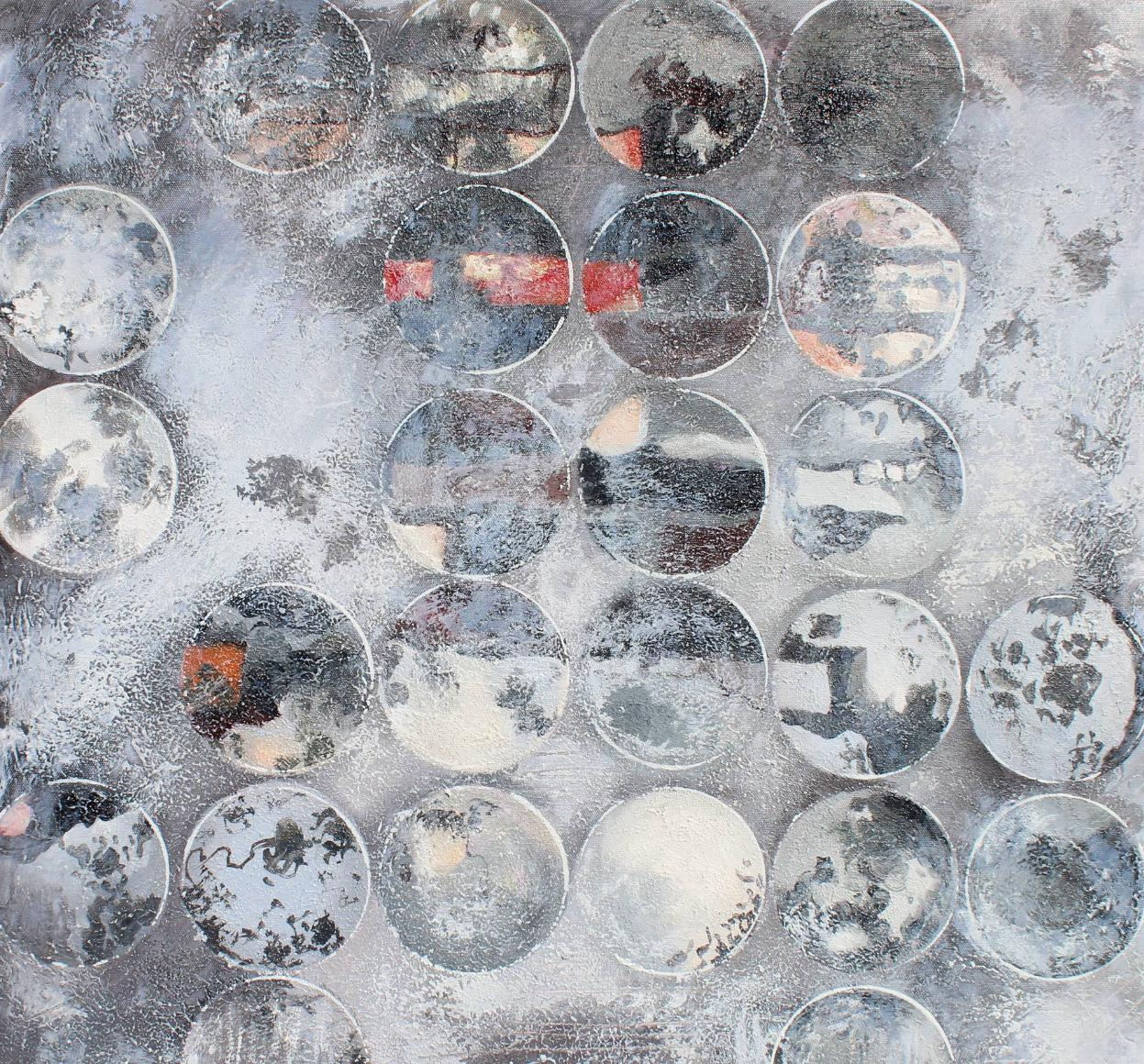 """Industrial Circles 89-201, Geometrical Mixed Media on Canvas, Textured  24 X 24"""""""