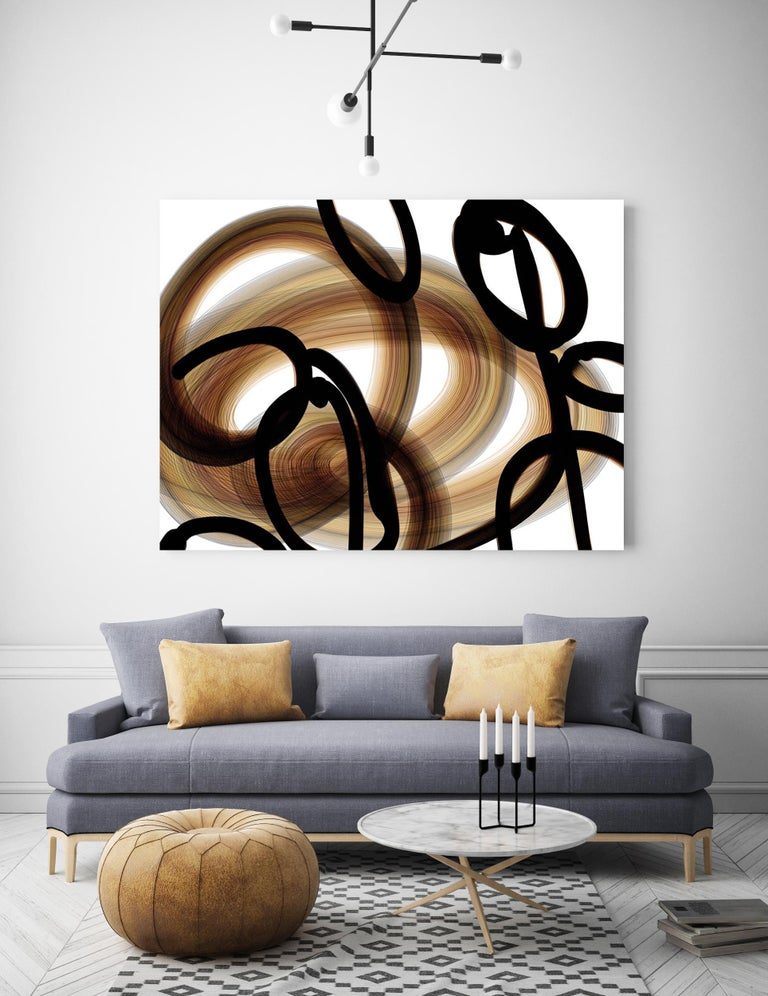 Black Coper Gold  Abstract Mixed Media Painting 48 x 36