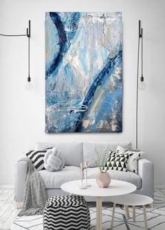 "Blue Abstract Heavy Textured Mixed Medium on Canvas, Urban Raw 30 x 48"""