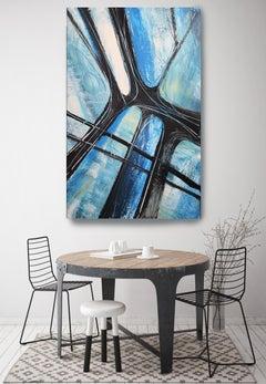"Blue Abstract Heavy Textured Mixed Medium on Canvas, Urban Raw Blue 30 x 48"""