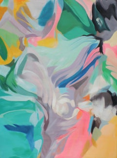 """Teal Pink Blue Abstract Acrylic Painting, 48W X 36""""H Sympathy"""