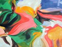 """Green Pink Flow Abstract Acrylic Painting, 48W X 36""""H, Challenge"""
