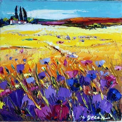 "Landscape With Purple Flowers Oil on Canvas Palette Knife 12 x 12"" Landscape"