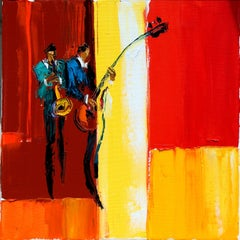 "Maya Green, High Note Oil on Canvas Palette Knife 12 x 12"" Music Art, Red Yellow"