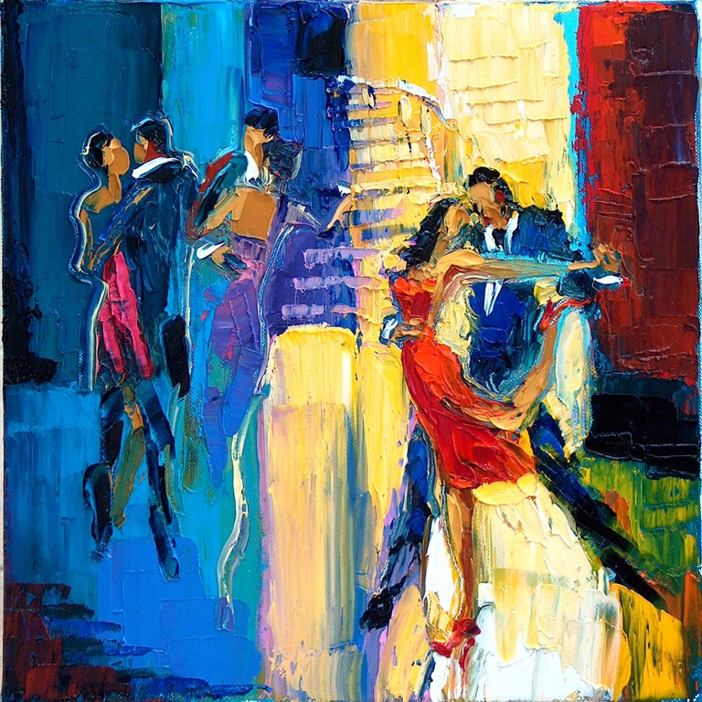 """Maya Green, Dance Me To The End Of Love Oil on Canvas Palette Knife 12 x 12""""  - Painting by Maya Green"""