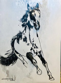"Wild Running Horse Three-Dimensional Painting on Wood 40H X 30"" W"