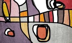 "Mid Century Modern Purple Grey Hand Embellished Giclee on Canvas 48"" X 36"""