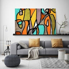 Mid-Century Modern Artwork Hand Embellished Giclee on Canvas, Teal Green