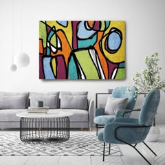 Mid-Century Modern Artwork Hand Embellished Giclee on Canvas, Vibrant