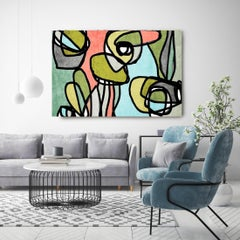 Mid Century Modern Blue Green Artwork Hand Embellished Giclee on Canvas
