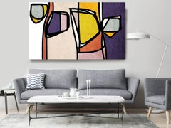 Yellow Purple Mid Century Modern Artwork Hand Embellished Giclee on Canvas