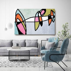Mid Century Modern Artwork Hand Embellished Giclee on Canvas, Blue