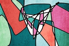 Mid Century Teal Pink Modern Green Red Artwork Hand Embellished Giclee on Canvas