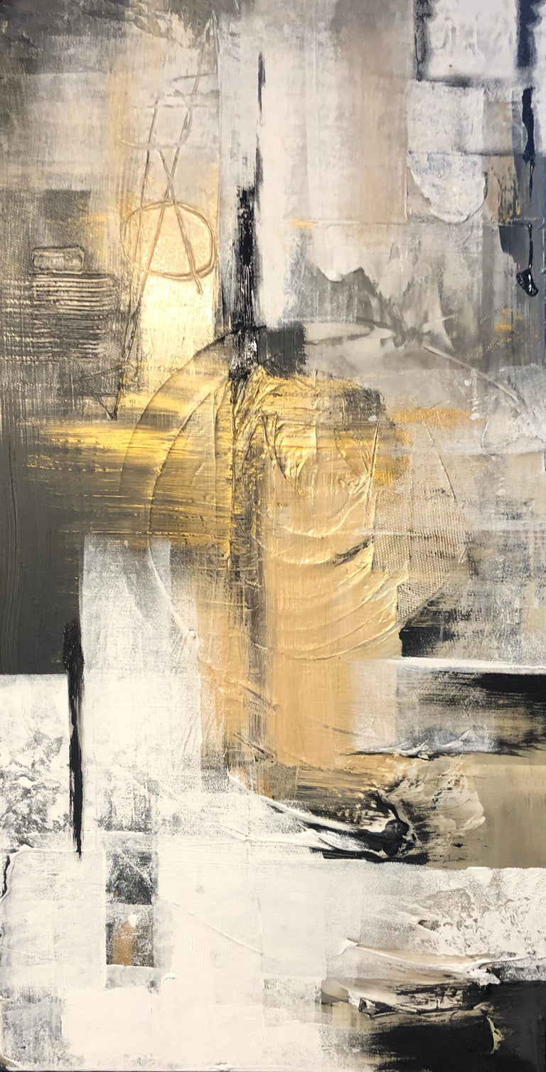 Irena Orlov Abstract Painting - Gold Black Mixed Media on Canvas: Acrylic Stucco, Modeling Paste Heavy Texture