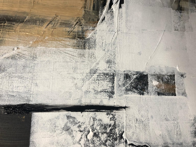 Gold Black Mixed Media on Canvas: Acrylic Stucco, Modeling Paste Heavy Texture  - Abstract Painting by Irena Orlov