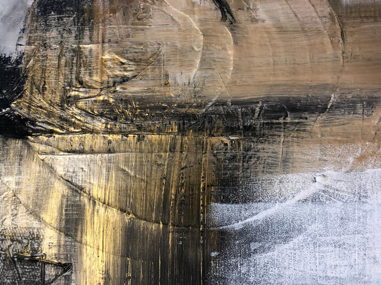 Gold Black Mixed Media on Canvas: Acrylic Stucco, Modeling Paste Heavy Texture  - Beige Abstract Painting by Irena Orlov