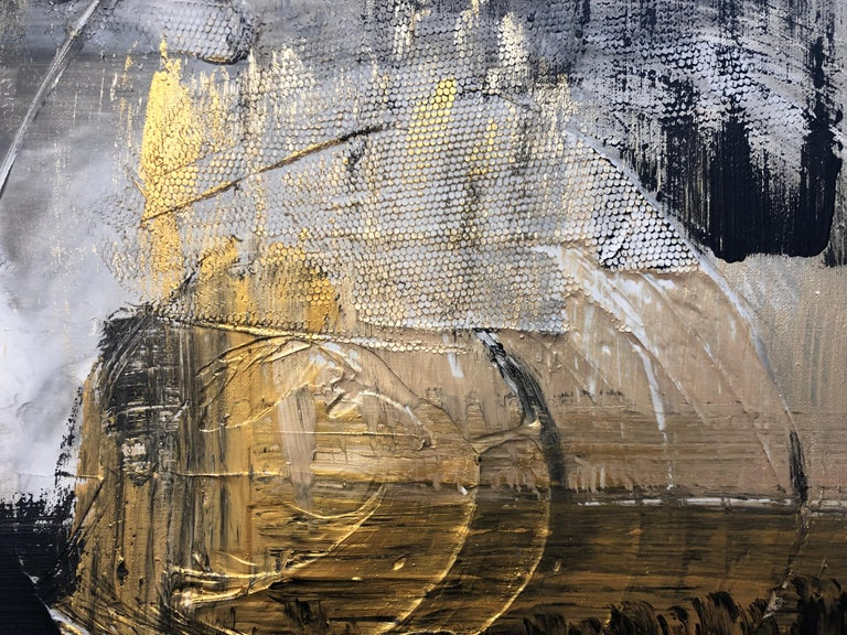 Gold Black Mixed Media on Canvas: Acrylic Stucco, Modeling Paste Heavy Texture  For Sale 1